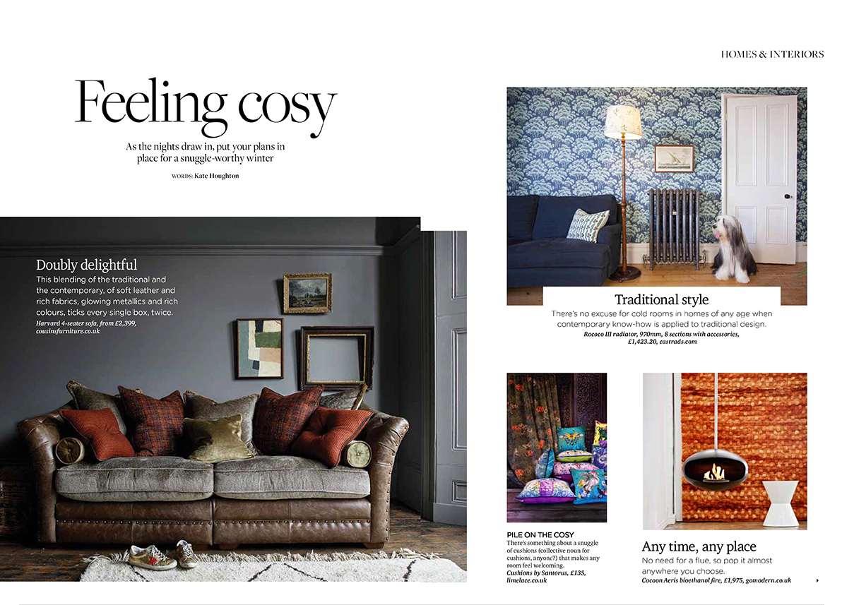 Archant London life Magazines, October 2019. Double page spread on contemporary methods and traditional design. Image on left dark grey living room with brown leather sofa. Image on right ornate cast iron radiator with cows parsley wallpaper in blue and white.