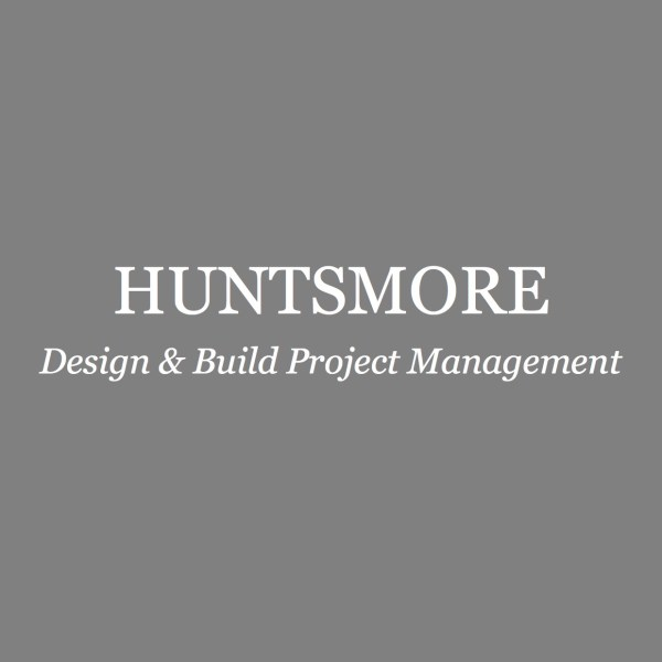 Grey and white logo for Huntsmore