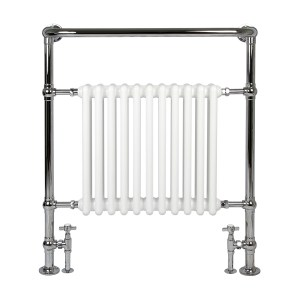 Vivien 8 white bathroom radiator with chrome towel warmer surround