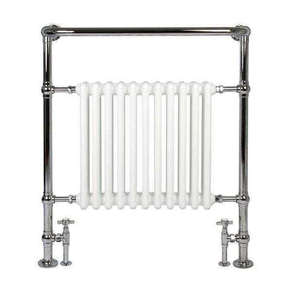 Vivien 8 white bathroom radiator with chrome towel warmer surround