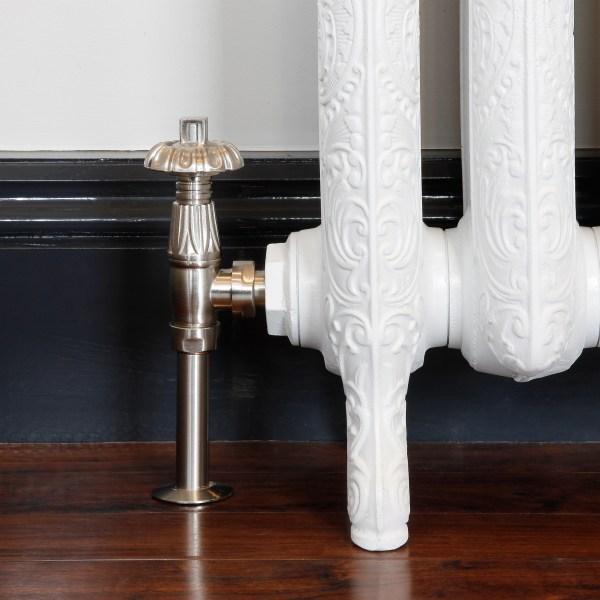 Chatsworth Satin Nickel thermostatic radiator valves with shrouds