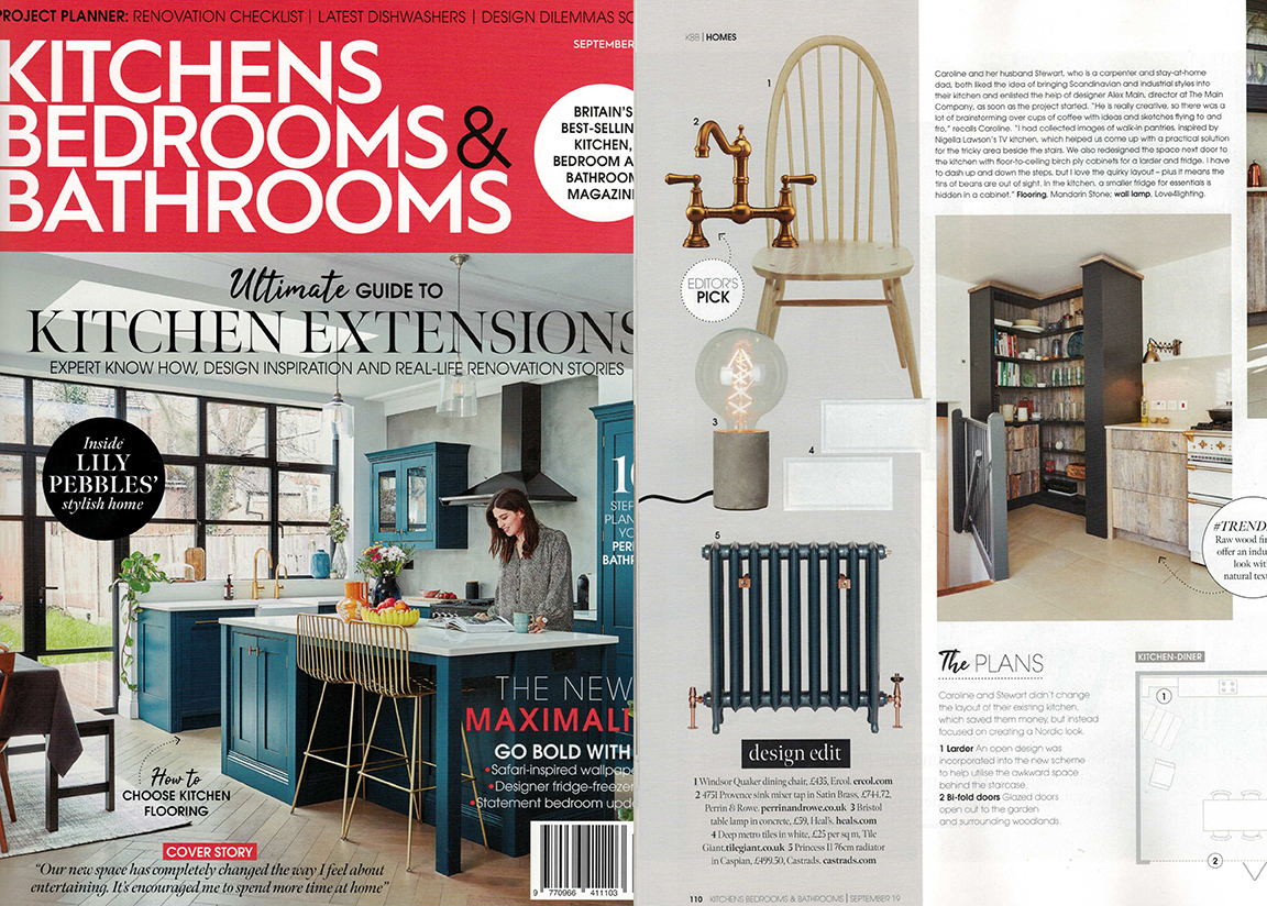 Kitchens, Bedrooms & Bathrooms Magazine, September 2019. Editors product pick with maximalism in thought for interiors. Metallic blue cast iron radiator with antique copper valves and wall stays.