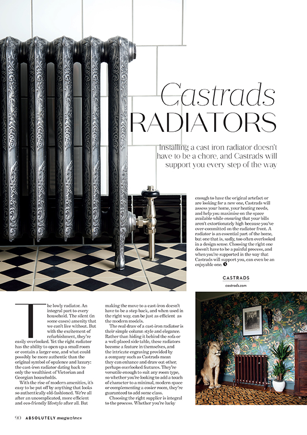 Absolutely Magazine, March 2018. Article on revitalising heating and installing new radiators. Ornate cast iron radiator on black and white checkerboard tiles.