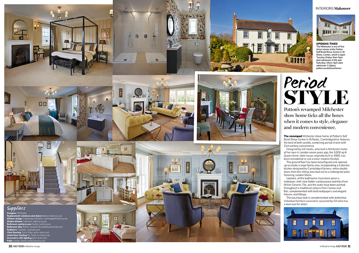 SelfBuild & Design, July 2018. Potton self build show house. Various photos showing interior design in a modern period style.