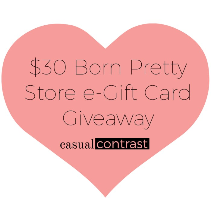 Infographic for $30 Born Pretty Store e-gift card giveaway on Casual Contrast