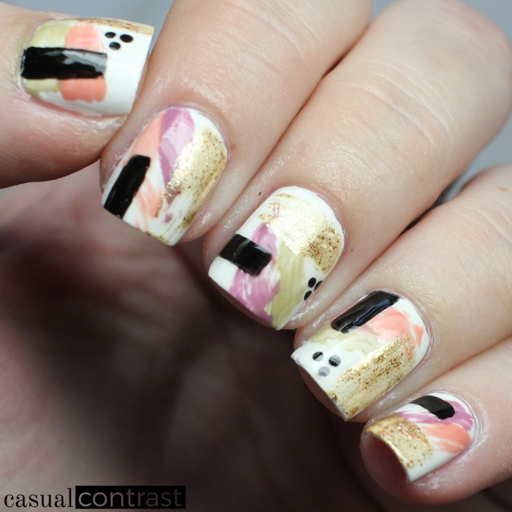 Abstract Nail Art Manicure featuring OPI Iceland Infinite Shine ...