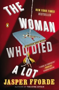 The Woman Who Died A Lot by Jasper Fforde; design by Jaya Miceli