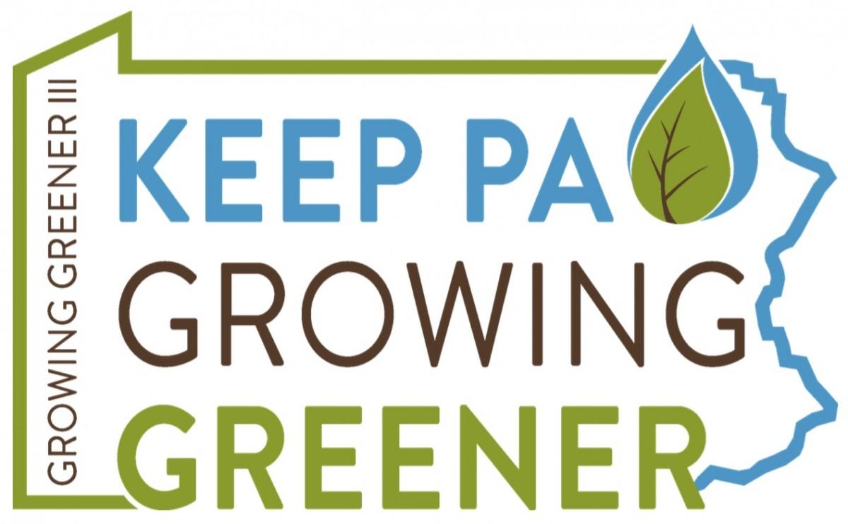 """Pennsylvania DEP's Growing Greener Logo that says """"Keep PA Growing Greener"""""""