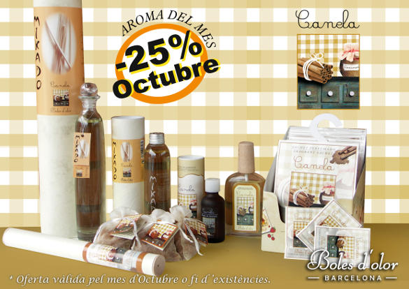 Canela: aroma del mes de Boles d'Olor con 25% de descuento.