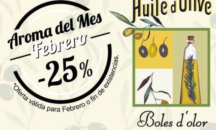"""Huile d´Olive"": aroma del mes de Boles d'Olor con 25% de descuento."