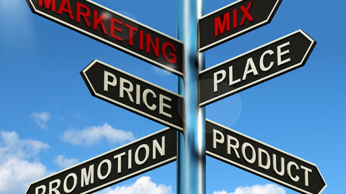 Marketing Mix Signpost With Place Price Product And Promotion Image