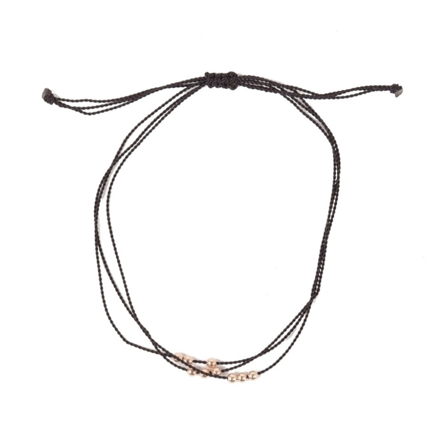 Friendship Bracelet With Rose Gold Beads Black