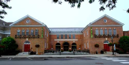 The front of the Baseball Hall of Fame and Museum in Cooperstown, New York