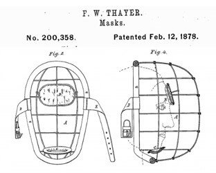 Fred Thayer's patent for the first catchers mask