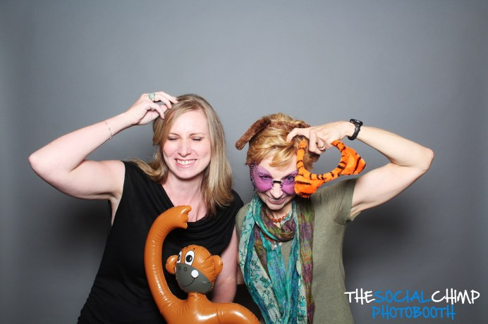 Martha Beck & I in a photo booth, pretending to be monkeys, at my MBLCT Meet & Greet in 2012.
