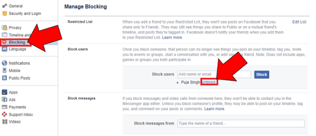 block unblock fb friend