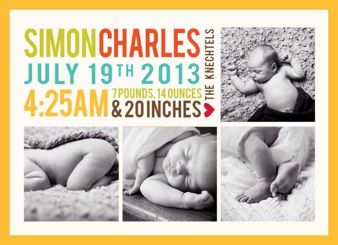 Birth announcement from newborn portraits