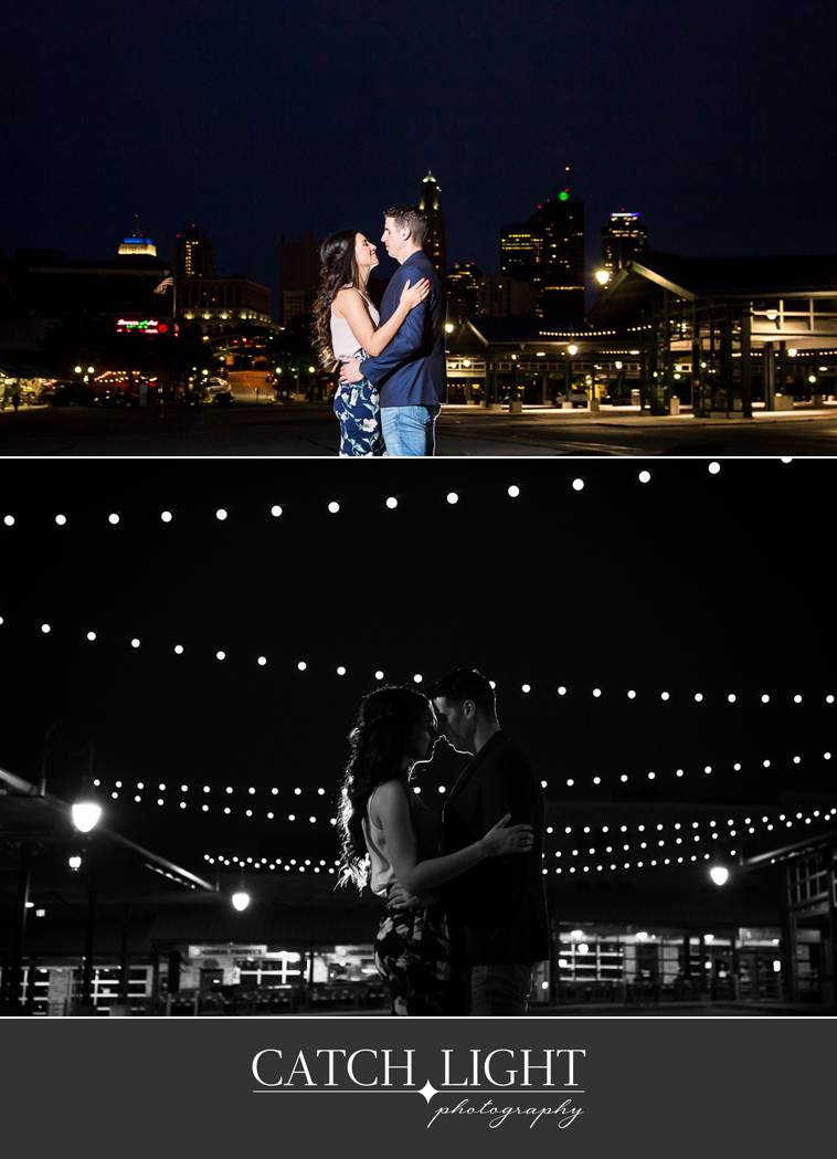photos taken at night with Kansas City and twinkly lights in the background
