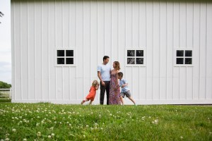 family photography in the country with a barn