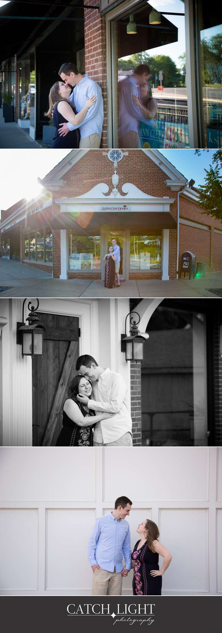 Kansas City Engagement photos in front of bookstore