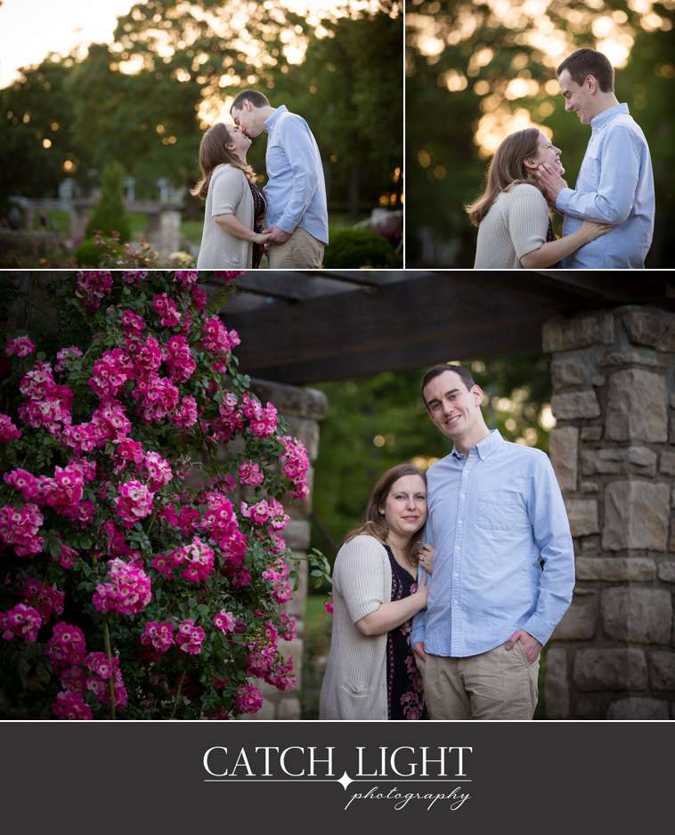 Kansas City Engagement Photos at Loose Park with gorgeous sun in back