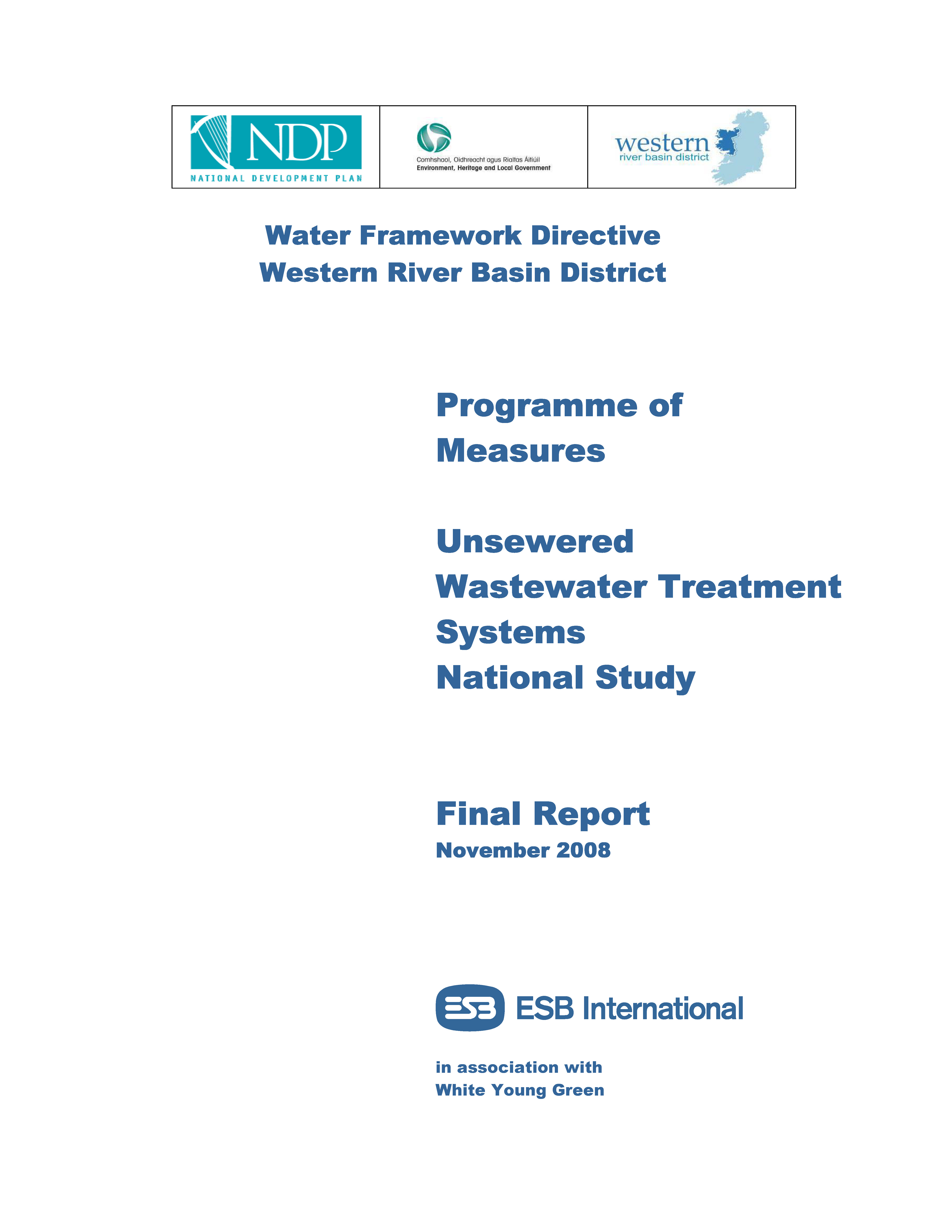 Cover from Programme of Measures Unsewered Wastewater National Study_v2