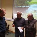 From left to right - Fran Igoe discusses the lower River Suir with local anglers Martin Ryan and Willie Bryan.