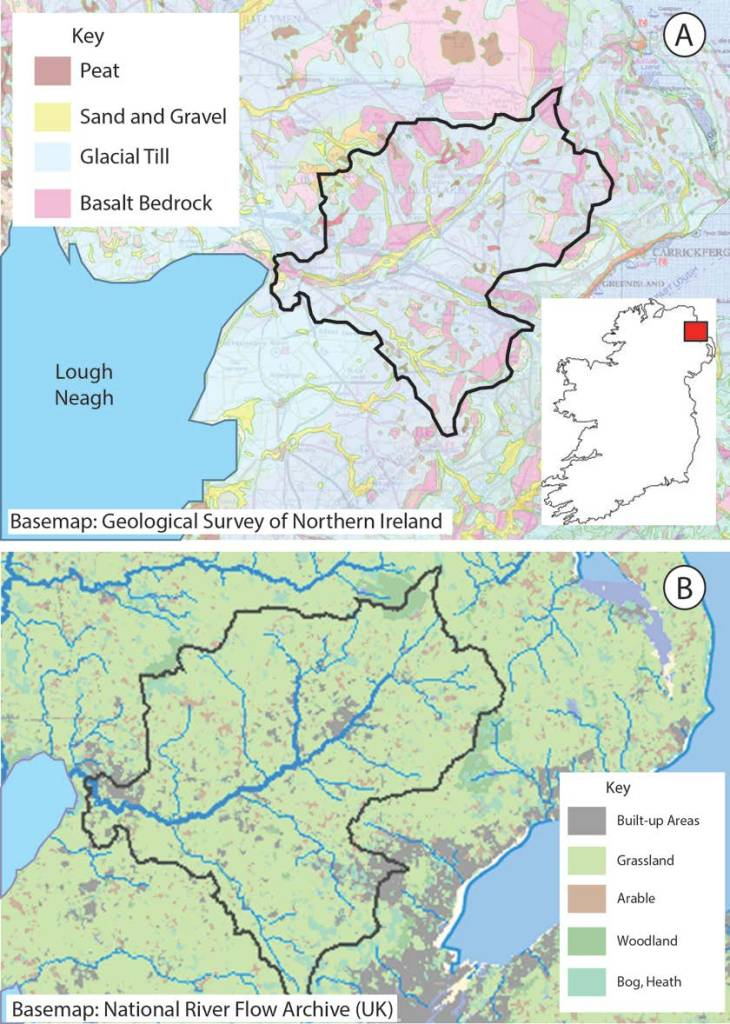 Figure 2 - Geological map of Sixmilewater Catchment. (B) Land use in the Sixmilewater Catchment, Co. Antrim.