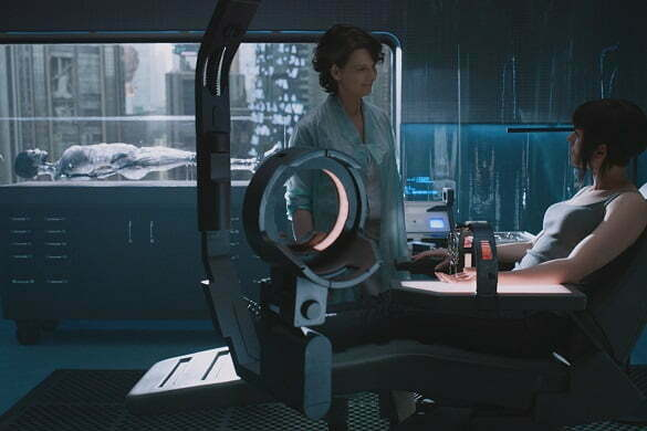 Scarlett Johansson plays The Major and Juliette Binoche plays Dr. Ouelet in Ghost in the Shell from Paramount Pictures and DreamWorks Pictures in theaters March 31, 2017.