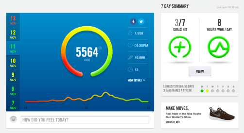 Day summary on the Nike Fuelband web app