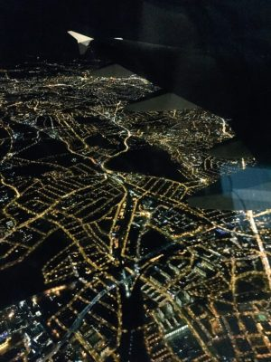 London from the sky at night