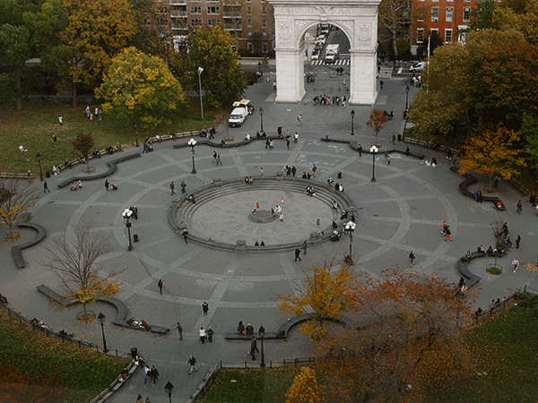 fall landscape of Washington Square Park with arch