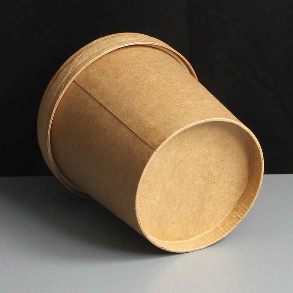 12oz BROWN Biodegradable Paper Soup Container And Lid
