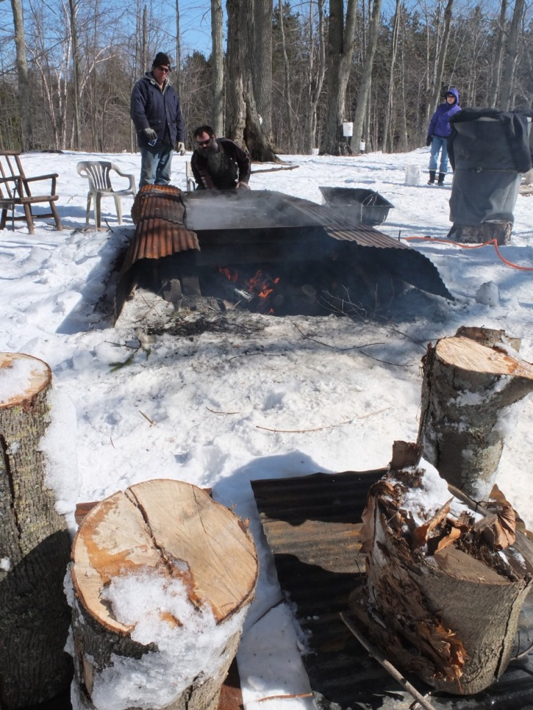 Maple sugaring time - the temperature must be carefully controlled on the evaporator