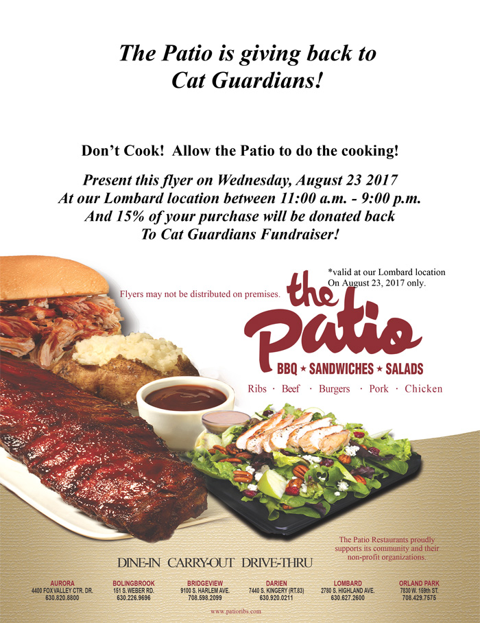 let the patio in lombard do the cooking on august 23