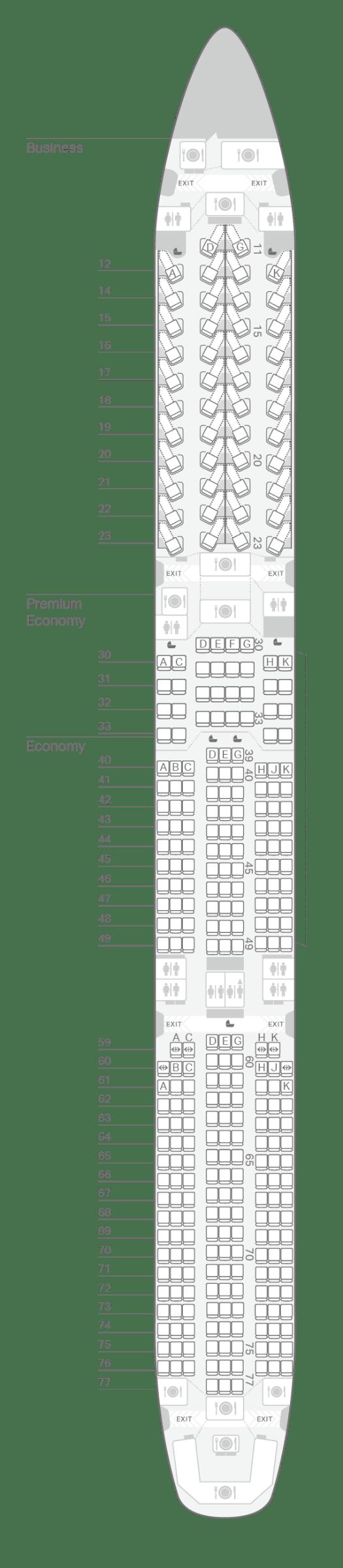 Airbus A350-1000 seating plan