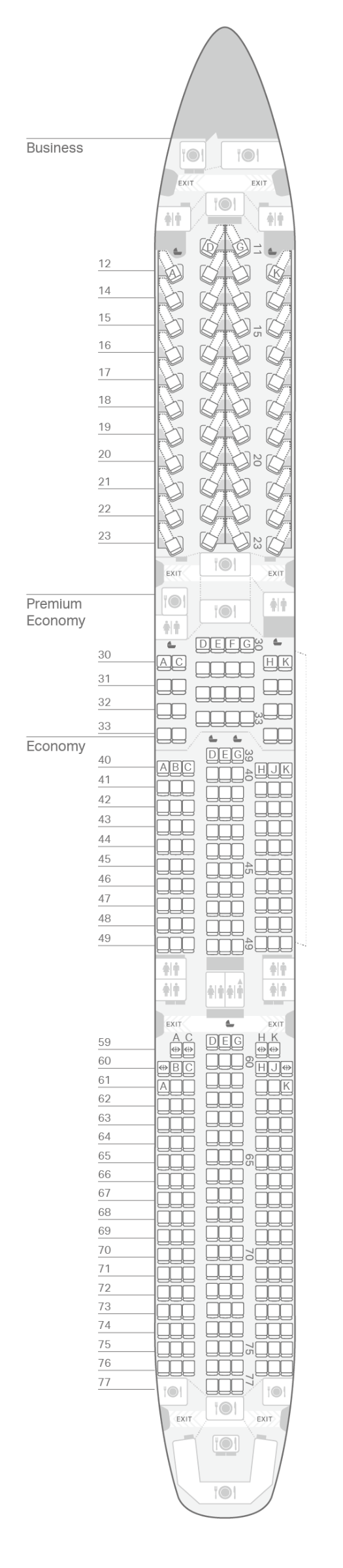 Mappa dei posti Airbus A350-1000