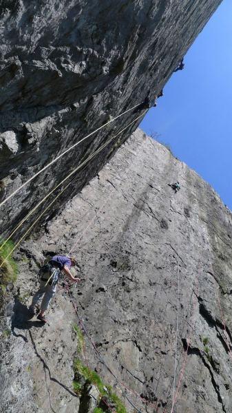 Nick Bulluck, on Right Wall, above the May bank holiday mayhem. Dinas Cromlech, Llanberis Pass.