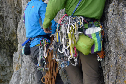 All the stuff, including OR's little Helium rain coat. An indispensable part of a Welsh climber's rack.  Anne Skidmore photo.