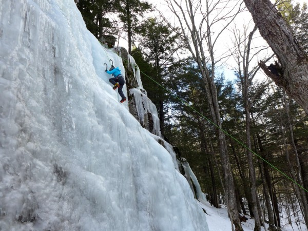13-year old Abi working her way to the top during last weekends Ladies Only Intro to Ice Climbing