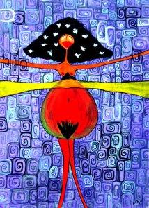 mujer con palomas