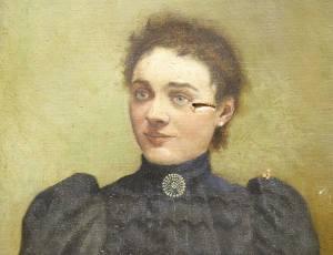 Portrait de dame, huile sur toile (déchirure)