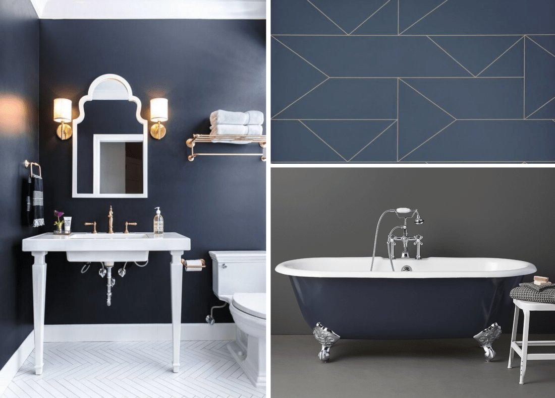 Navy Blue Tub, Walls, and Tile Ideas for your Bathroom