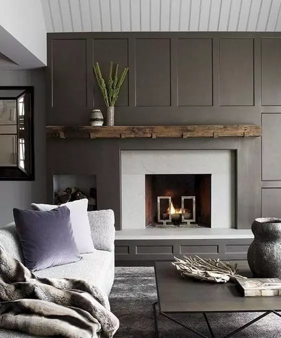 Fireplace Accent Wall with Asymmetrical Mantle - Catherine French Design