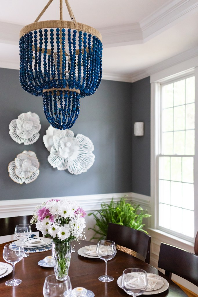 Navy Beaded Chandelier  - Cat French Design Chapel Hill