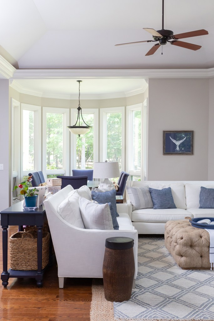 layers of coastal decor in this keeping room - cat french design - chapel hill nc