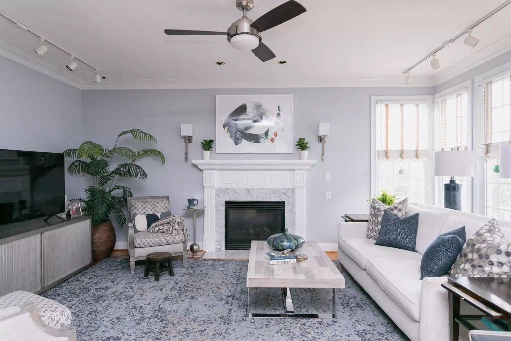 New mantel and Furniture in Chapel Hill Living Room - Cat French Design