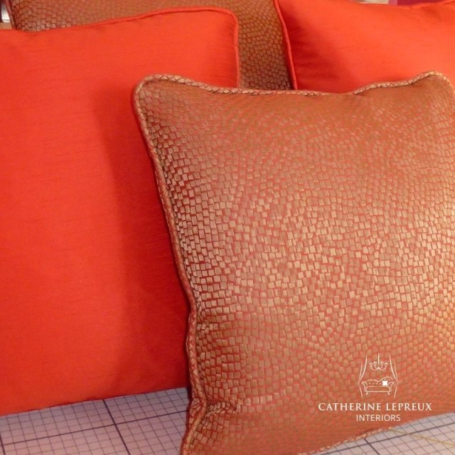 soft furnishings orange scatter cushions in James Hare silk