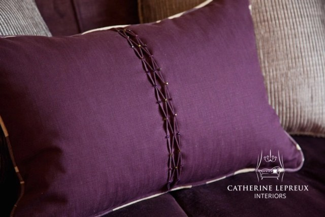 soft furnishings bespoke purple pintuck cushion with Swarovski bead details