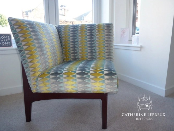 Reupholstered 1960s occasional chair for an Edinburgh private client. Fabric is a Villa Nova grey/yellow cut velvet